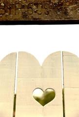 Heart in white door