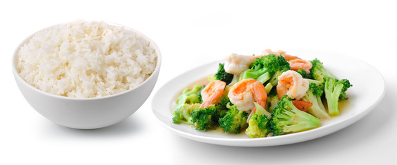 rice with thai healthy food stir-fried broccoli with  shrimp