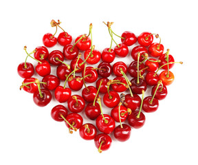 Sweet cherries in shape of heart, isolated on white
