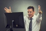 Thrilled businessman over great news poster