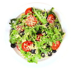 Fresh salad with arugula, isolated on white