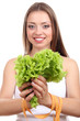 Beautiful girl with lettuce and measuring tape, isolated
