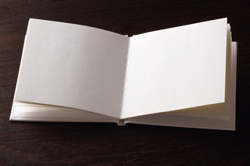 blank open book on the table