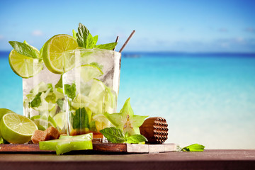 Summer mojito drinks on beach