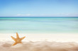 canvas print picture - Summer beach with starfish