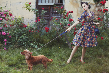 Vintage model  with a dog