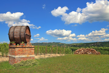 Wine barrel and vineyards in Piedmont, Italy.