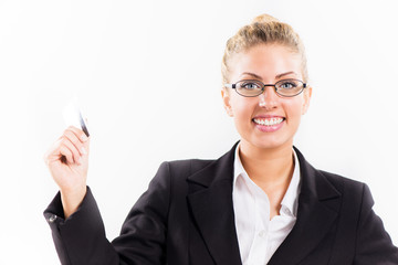Businesswoman with master card