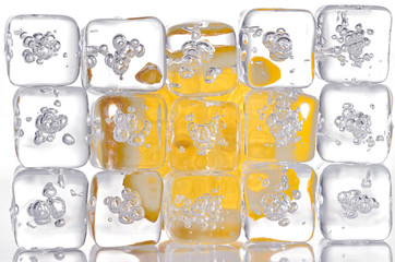 ice cubes and lemon slice