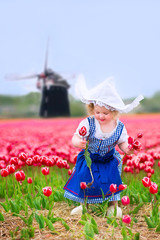 Little girl in a national Dutch costume in tulips field with win