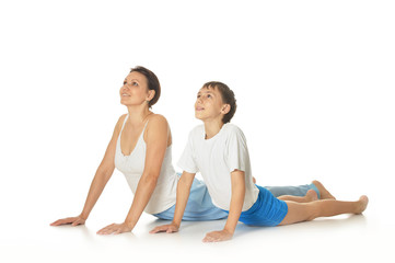 Mother and son exercising