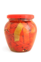 Slices of preserved bulgarian pepper  in glass jar