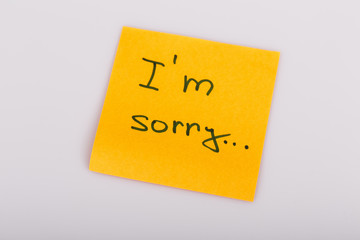 Sticky Note Message isolated on white - I am sorry
