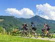 Radsportler im Gebirge