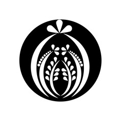 Black and white ornament on isolated background, vector