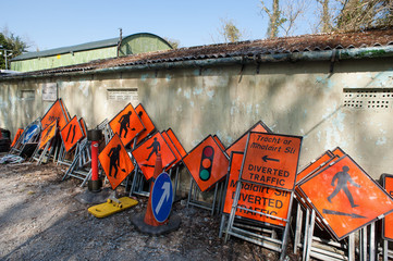 various roadworks traffic signs