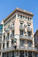 Old Plaster Hotel with Balconies in Barcelona