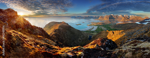 Tuinposter Bergen Norway Landscape panorama with ocean and mountain - Lofoten