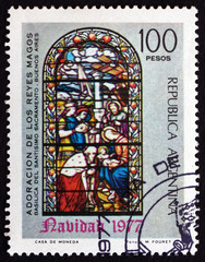 Postage stamp Argentina 1977 Adoration of the Kings, Christmas