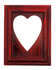 Love symbol hole on a red frame