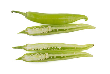 Sliced green chili peppers