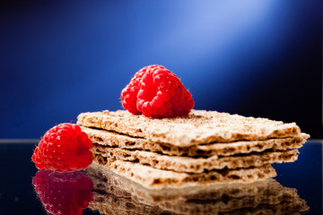 crackers and raspberry