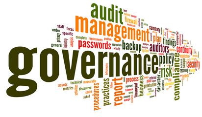 Governance and compliance in word tag cloud