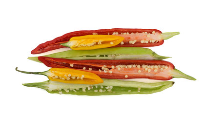 Length-ways sliced chili peppers