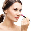 Woman with make up brush, isolated