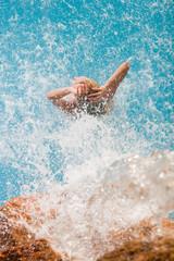 spa hydrotherapy woman waterfall