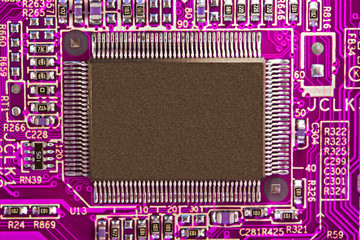 Purple electronic circuit board with processor