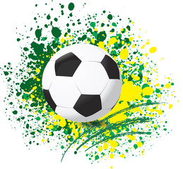 Football World cup on paint splash color background