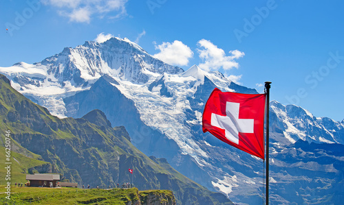 Foto op Canvas Alpen Swiss flag