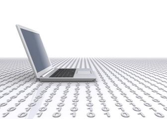 ノートパソコンとデジタル背景