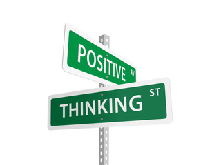 POSITIVE THINKING street signs (signpost icons depression)