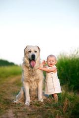 Маленькая девочка и большая собака