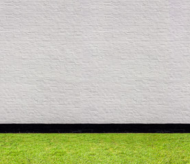 white brick wall horizontal seamless pattern and lawn