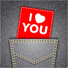 I love you card. Black back jeans pocket realistic denim texture