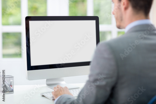 Businessman in front of computer