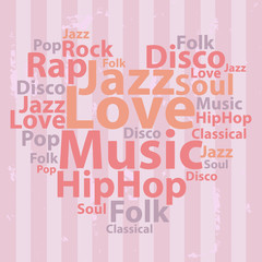 Text cloud. Music wordcloud. Tag concept. Vector illustration.