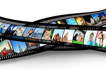 Film strip with colorful, vibrant photographs. Various themes