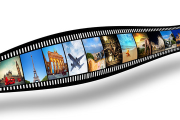 Film strip with colorful, vibrant photographs. Travel theme