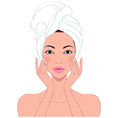 beautiful woman's skin care