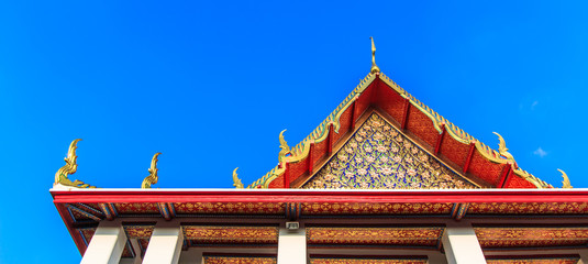 Ancient art at Wat Pho in Bangkok of Thailand