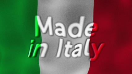 Made in Italy Flag and Text, Textile Background