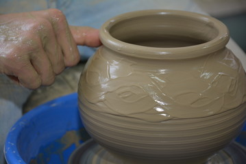 pot on a potter's wheel