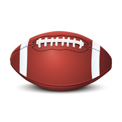 Realistic american football ball isolated on white background