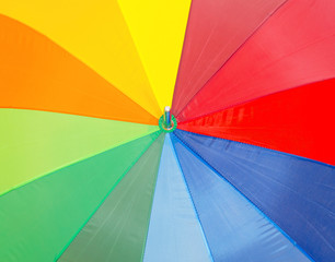 Close-up view of colorful umbrella.