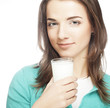 young lady having a glass of milk