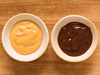 rustic mustard and barbecue sauce